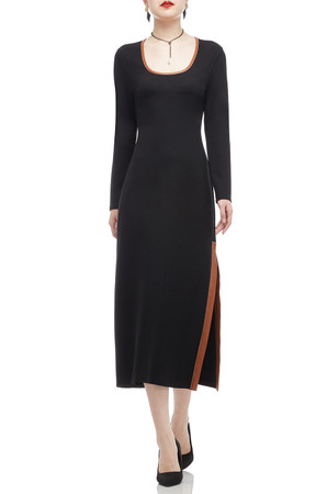 OVAL NECK WITH SLIT ON THE SIDE ANKLE LENGTH DRESS BAN2011-0194