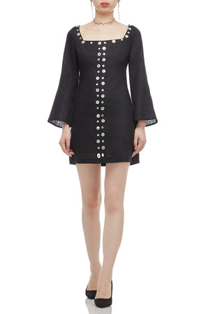 SQUARE NECK WITH BUTTON EMBELLISHED DRESS BAN2011-0461