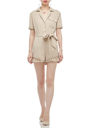 BUTTON DOWN BELTED ROMPER BAN2011-0163