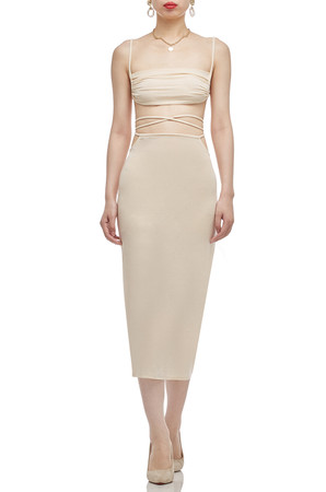 NORMAL WAISTED WITH TIE ON THE WAIST AND SLIT ON THE SIDE SKIRT BAN2010-0729