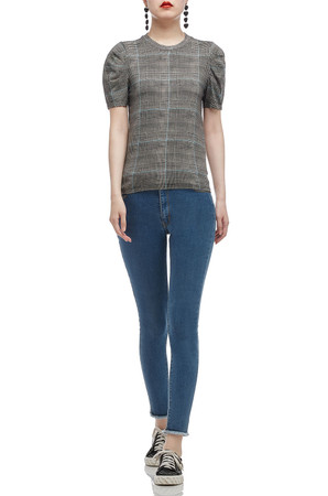 ROUND NECK WITH PUFF SLEEVE TEE TOP BAN2005-0334