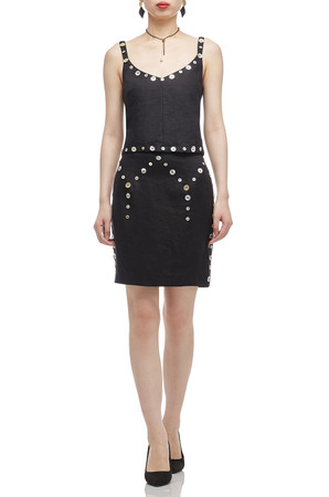 NORMAL WAISTED EMBLLISHED WITH BUTTON SKIRT BAN2011-0171