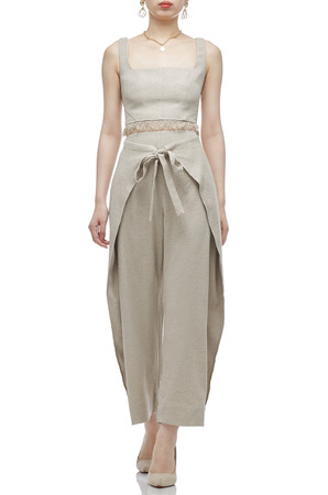 HIGH WAISTED ANKLE LENGTH WITH TIE FRONT PANTS BAN2011-0558