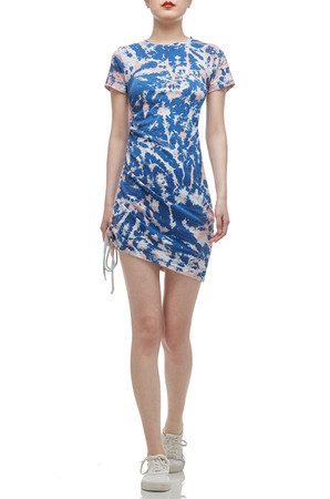 ROUND NECK WITH DRAWSTRING ON THE SIDE ASYMETRICAL DRESS BAN2012-0062