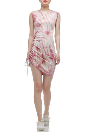 ROUND NECK WITH DRAWSTRING ON THE SIDE ASYMETRICAL DRESS BAN2012-0442