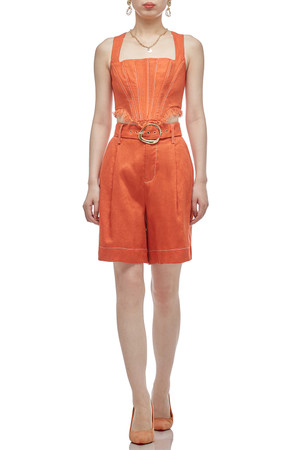 SQUARE NECK WITH ZIP UP BACK CROPPED STRAP TOP BAN2011-0425