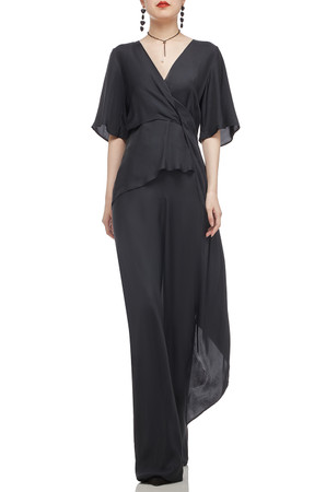 SURPLICE NECK WITH SHORT BELL SLEEVE AND HI-LOW HEM TOP BAN2012-0792