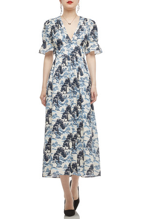 V-NECK WITH BUTTON DOWN AND PUFF SLEEVE DRESS BAN1912-0699