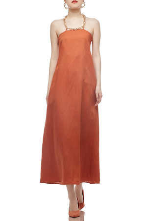 HALTER NECK WITH CROSS ON THE BACK ANKLE LENGTH DRESS BAN2012-0793