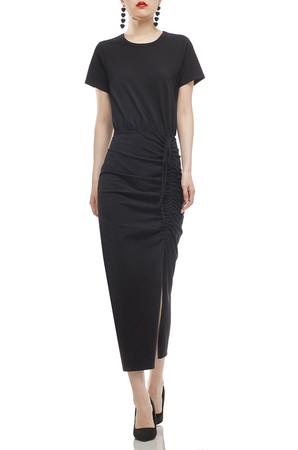 ROUND NECK WITH DRAWSTRING ASIDE ANKLE LENGTH DRESS BAN2006-0187
