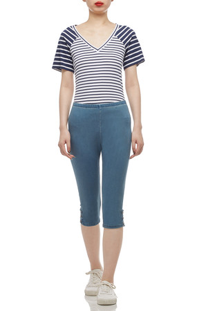 V-NECK WITH CAP SLEEVE TEE TOP BAN2012-0544