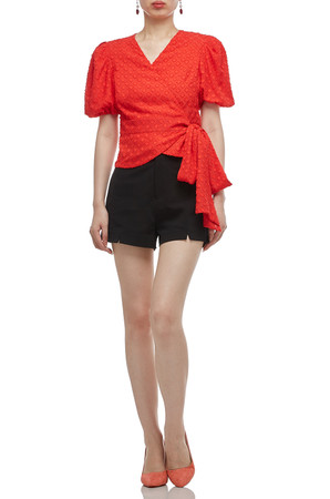 SURPLICE NECK WITH PUFF SLEEVE WRAP TOP BAN1912-0611
