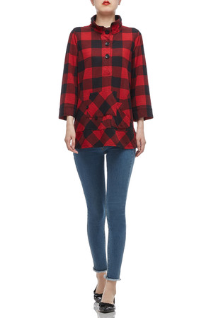 HIGH NECK WITH HALF BUTTON DOWN TEE TOP BAN2007-0133-R