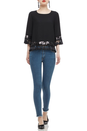 BOAT NECK WITH FRINGE AND SEQUINED TOP BAN2101-0081