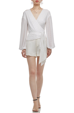 SURPLICE NECK WITH BOUFFANT SLEEVE WRAP TOP BAN2010-0207