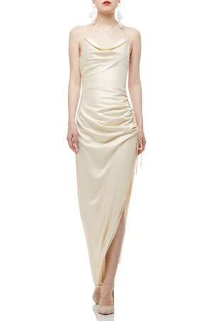 CAMISOLE WITH DRAWSTRING AND SLIT ANKLE LENGTH DRESS BAN2103-0778