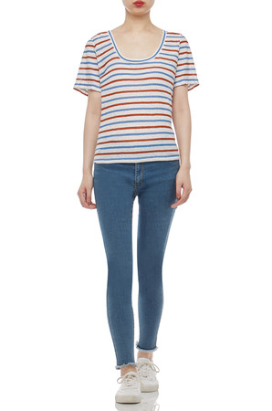 OVAL NECK TEE TOP BAN2012-0522-R