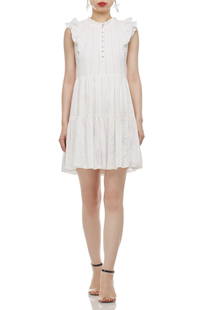 ROUND NECK WITH HALF BUTTON DOWN A-LINE DRESS BAN2101-0507
