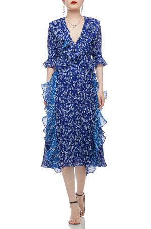 DEEP V-NECK WITH FALBALA EMBLLISHED A-LINE DRESS BAN2103-0747