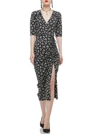 SURPLICE NECK WITH DRAWSTRING ASIDE MID-CALF DRESS BAN1912-0366
