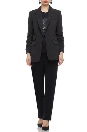 SINGLE BUTTONED WITH PEAKED LAPEL SUIT JACKET BAN2012-0195