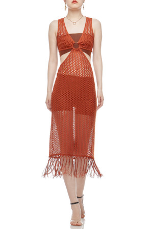 V-NECK AND SEE THROUGH COVER-UP DRESS BAN2102-0313