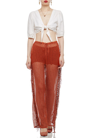HIGH WAISTED WITH DRAWSTRING AND SEE THROUGH COVER-UP PANTS BAN2103-0126