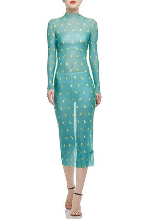 HIGH NECK SEE THROUGH PENCIL DRESS BAN2101-0624