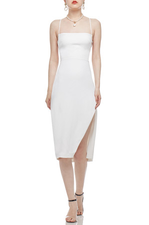 CAMISOLE WITH CROSS ON THE BACK AND HIGH SLIT DRESS BAN2101-0456