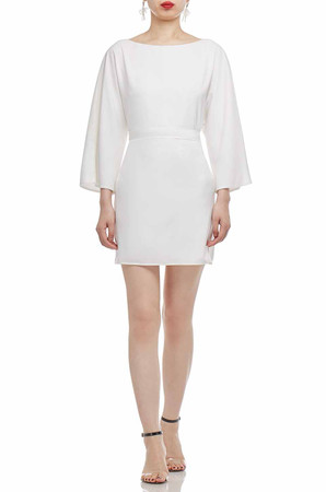 BOAT NECK AND BELTED A-LINE DRESS BAN2103-0940