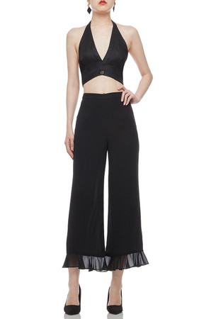 HALTER NECK WITH SINGLE BUTTON FRONT CROPPED TOP BAN2102-0160