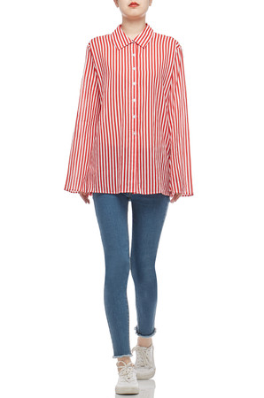BUTTON DOWN WITH BELL SLEEVE SHIRT TOP BAN2101-0616