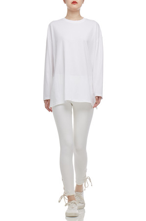 ROUND NECK WITH DROPPED SHOULDER TEE TOP BAN2104-0072