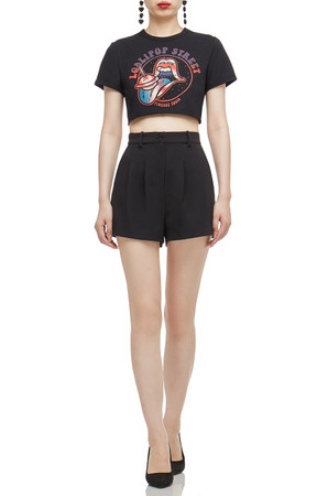 ROUND NECK CROPPED TEE TOP BAN2101-0347