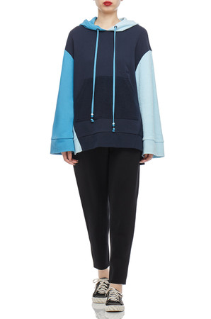 SLIT ON BOTH SIDE WITH DRAWSTING HOODIE TOP BAN2102-0075