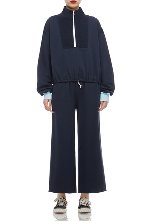HIGH NECK WITH HALF ZIP-UP AND DRAWSTRING ON THE WAIST TOP BAN2102-0041