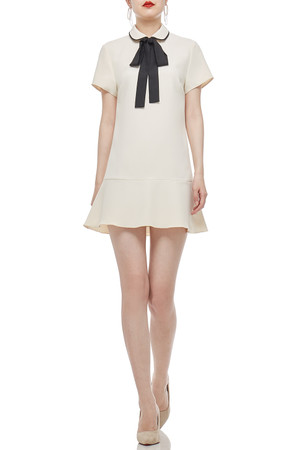 PETER PAN COLLAR AND BOW TIE ON THE NECK DRESS BAN2104-0495
