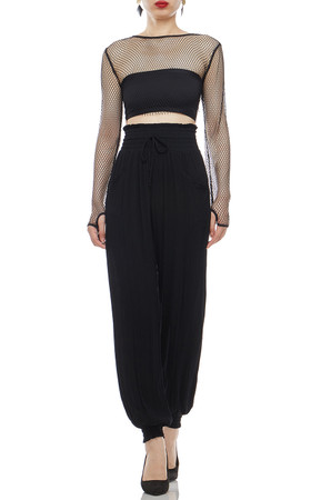 ROUND NECK CROPPED SEE THROUGH TOP BAN2101-0629