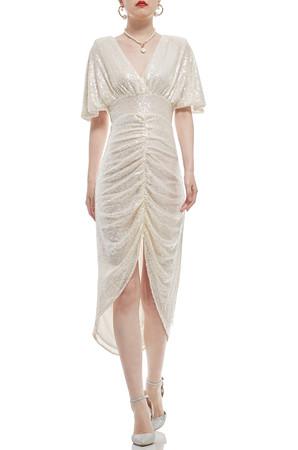 DEEP V-NECK MID-CALF DRESS BAN2011-0050