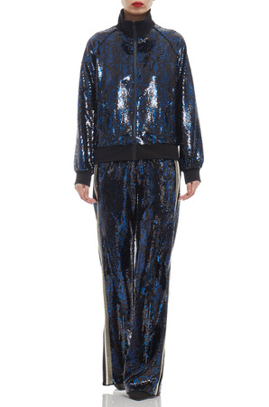 NORMAL WITH DRAWSTRING WAIST AND SLIT ON BOTH SIDE SEQUINED PANTS BAN1908-1091