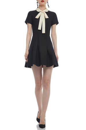 PETER PAN COLLAR WITH BOW TIE ON THE NECK A-LINE DRESS P2105-0132