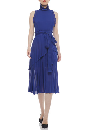 HIGH NECK BELTED AND PLEATED MID-CALF DRESS BAN2104-0662