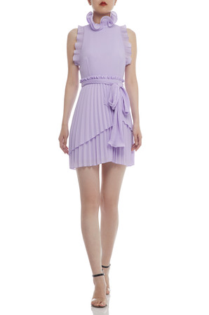 HIGH NECK BELTED AND PLEATED DRESS BAN2104-0659