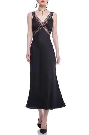 V-NECK A-LINE ANKLE LENGTH STRAP DRESS BAN2101-0601