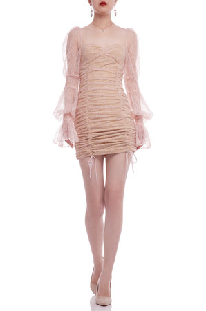 BALLOON SLEEVE WITH DRAWSTRING FRONT DRESS BAN2104-0755