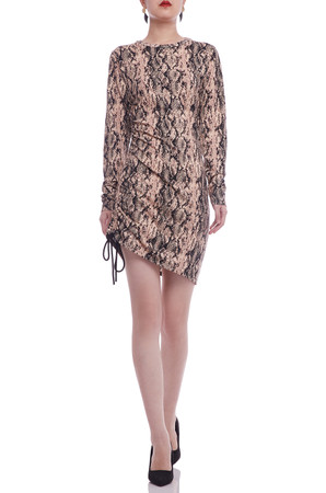 ROUND NECK WITH DRAWSTRING ON THE SIADE DRESS BAN2106-0135