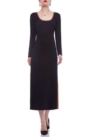 OVAL NECK WITH SLIT ON THE SIDE ANKLE LENGTH DRESS BAN2105-0631