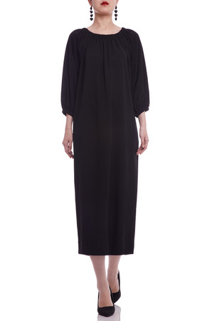 GATHERED NECK A-LINE WITH POCKETS DRESS BAN2103-0758