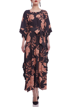 BOAT NECK WITH FRINGE AND BELTED DRESS BAN2106-0336