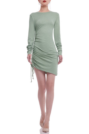 ROUND NECK WITH DRAWSTRING ON THE SIDE PENCIL DRESS BAN2106-0434